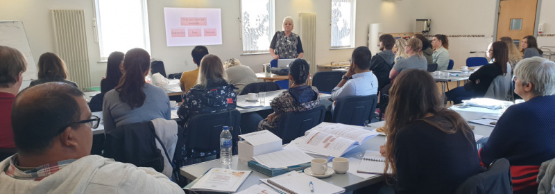 Montessori expert Anne Kelly delivers training in person-centred care to Diagrama's team