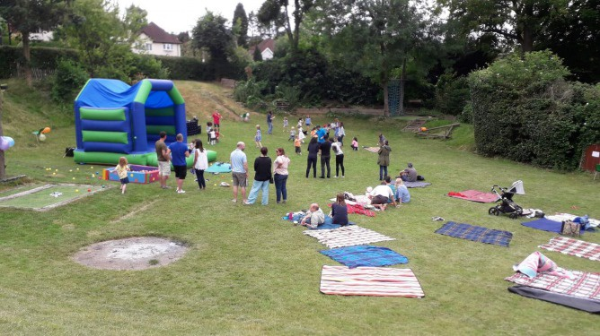Guests enjoying the summer picnic