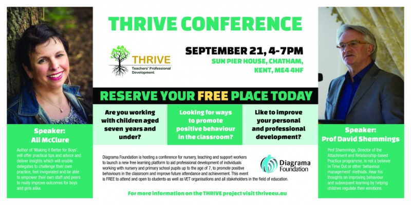 THRIVE conference hosted by Diagrama Foundation with keynote speakers Ali McClure and Professor David Shemmings
