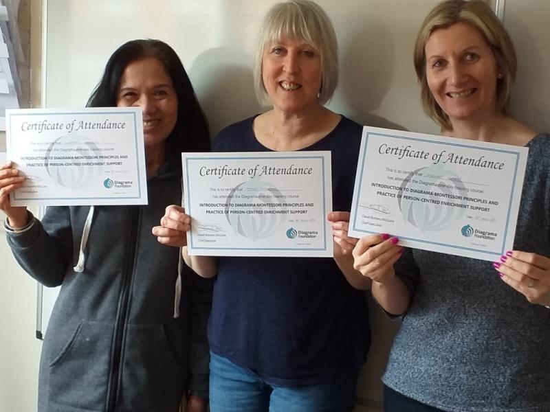 Staff at Diagrama's Cabrini House receive montessori certificates