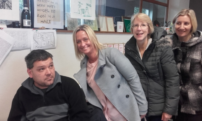 Cabrini House staff Ann Carroll, Vicky Booth and Maxine Clarke with one of Group Ubuntu's day centre participants